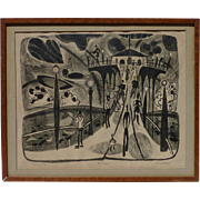 Keith Crown (1918 - 2010) Ametican well listed artist pencil signed lithograph 1954 of Manhattan Beach Pier California