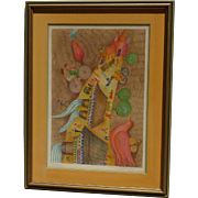 Francoise Deberdt French Listed artist color pencil signed lithograph with a horse birds ships castle and figures