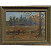 R. Noble American artist country side forest tree fence impressionist landscape painting