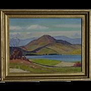 Lawrence Hansen Sindberg (1902-1977) Northwest hilly landscape painting of hills and lake