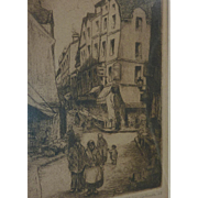 Minna Weiss Zellner (1889 -1982) American artist pencil signed etching of Paris street in 1928