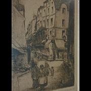Minna Weiss Zellner (1889 -1982) American artist pencil signed etching of Paris street in 1928