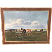 Large Niels Christensen (1867- 1939) Danish listed artist painting  of horses and cows in a landscape  cloudy day