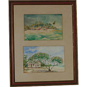 T. Stanton Caribbean island Bahamas watercolor painting beach scene with the boats