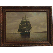 Marine American art clipper ship on the seas near coastline oil painting unsigned