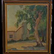 George Westfall Reynolds (1887 - 1966) California plein air impressionist landscape painting with eucalyptus trees