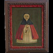 Agapito Labios (1898-1966) Mexican folk art  little girl dresses up like a nun oil painting