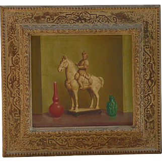Stanislaus (Stan) Pociecha Poray (1888 -1948) Polish - American well listed artist oil painting still life orientalist horse with rider and two vessels