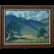 J. Appleton California landscape plein air art impressionist painting of Golden Hills with horses