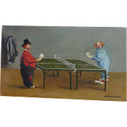 Edith Tuchman American 20th century artist whimsical oil painting of clowns playing ping pong dated 1953