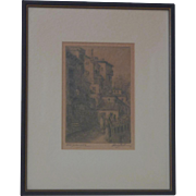 """Old Grenada"" Spain street scene etching signed by the artist M. Jackson"