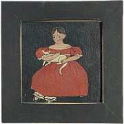 Sandy Laughlin folk art style oil painting of a young girl with a red dress holding her cat