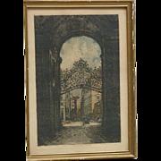 Luigi Kasimir style artist original colored aquatint etching of Vienna Palace gates