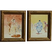 A PAIR vintage watercolor paintings of Spanish flamenco dancers signed