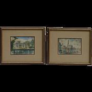A pair of watercolor paintings of European landmark scenes signed