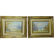 A PAIR small impressionist oil paintings of a young girls in landscape of mountains lake scenes artist Edward Paul