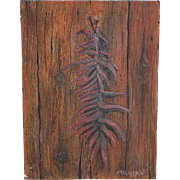 Small Southwest art New Mexico oil painting of red chile ristra signed McGlaughlin