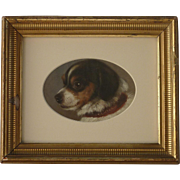 Antique dog art 1864 oil painting of adorable toy dog or puppy artist Reichmann