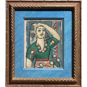 Gines Parra (1896 - 1960) Spanish artist modern impressionist colorful painting of a woman 1947