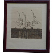 Peter Probisch 1977 pencil signed limited edition surrealist etching by German artist