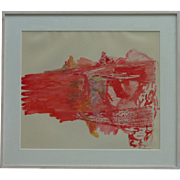 """Modern contemporary colorful abstract expressionist acrylic on mylar painting signed """"Monchera"""" red colors are dominant"""