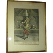 Flemish Jean-Baptiste Vanmour (Van Mour)1671-1737 engraving of Beulouk - Bachi chef of the Sultan