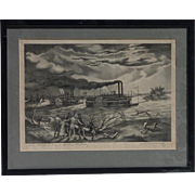 """John McCrady (1911 -1968) American listed artist pencil signed lithograph """"The Robert E. Lee and the Natchez"""""""