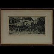 Tanna Kasimir Hoernes (1887-1972) pencil signed etching of European street market by wife of Luigi Kasimir