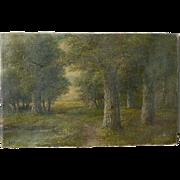 Emma K. Bennett Noble (1858-1941) American listed artist forest trees landscape oil on canvas painting