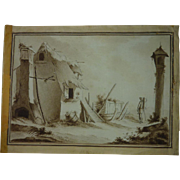 Eighteen century Dutch sepia ink and watercolor drawing painting of country house in landscape