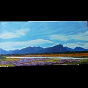 Michael Hodgkins 20th century Australian contemporary artist New Zealand mountains landscape original painting