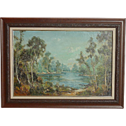 LEONARD BORMAN (1894-1995) American California artist landscape painting with a trees and lake