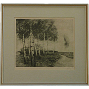 Original etching of paper birches by a creek signed by the artist in pencil