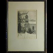 Joseph Mauborgne (1881 -1991) etching of old church in Shewsbury New Jersey
