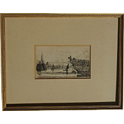 Old etching of riverfront in a harbour with a ships and boats Thames River in London
