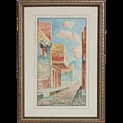 Small original watercolor painting of Italian street scene with Vesuvius in a distance by Gallo Giovanni