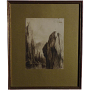 Pieter Johannes Mak (1842 -1929) Dutch artist watercolor painting of a high rocks mountains and a river or lake