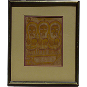 Etiopian 1970 original Three Wise Man watercolor painting by Gebre Selassie Abadi  Gebremariam