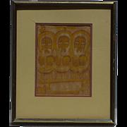 Etiopian 1970 original Three Wise Man watercolor painting by Gebre Selassie Abadi  Gebremariam