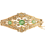 Emerald Diamond Bracelet Belle Époque 15K 16k Rose Gold