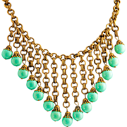 Circa 1940 Miriam Haskell Bib Necklace Turquoise  Gilded Brass