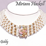 Early Miriam Haskell Crystal Choker Necklace Exquisite  Clasp