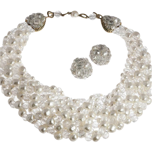 Elegant Coppola e Toppo Faux Pearl Necklace Earrings 1960's