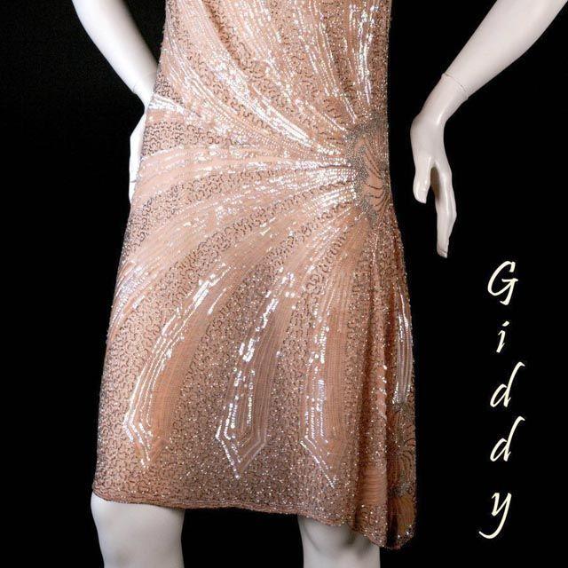 1920's Peach Beaded Flapper Dress