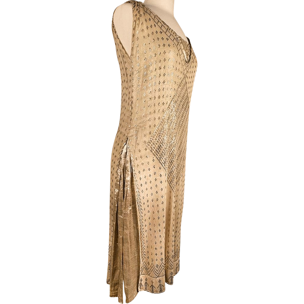 1920's Gold Lame & Assuit Shawl Layered Dress *Great Sz