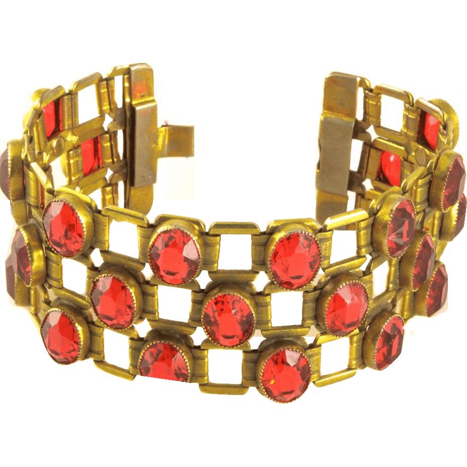 Dazzling Wide Deco Red Crystal Bracelet