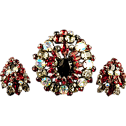 Exceptional Schreiner Brooch Earrings Tiered Japanned