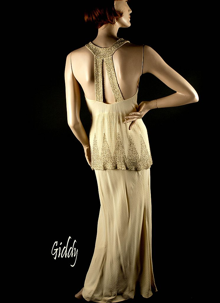 Exceptional 1930\'s Beaded Ivory Rayon Crepe Gown Dress : Giddy ...