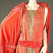 1920s Coral Silk Beaded Flapper Dress &  Velvet Cape