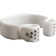Prettiest White Thermoplastic Rhinestone Bracelet Vintage